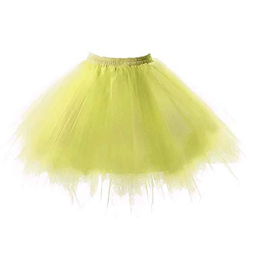 SUPIPARTY Damenrock Mädchen Ballett Tüllrock Partyrock 3-Lagig Tütü Tutu Rock Vintage, 25cm, XXS, Fluo. Gelb SP-11014 (Lange Gelbe Rock Für Kinder)