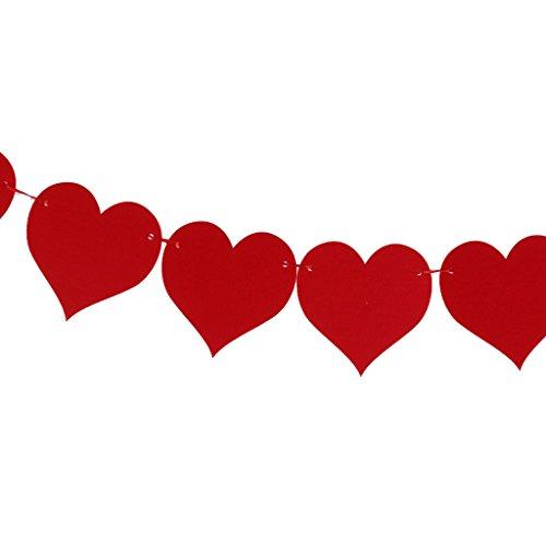 e Fahnen Girlande Wimpel Wimpeln ideal für Weihnachten - Rotes Herz (Stoff-wimpel Fahne)