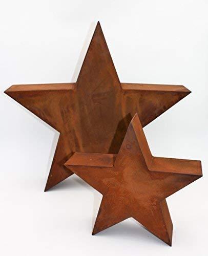 Rostikal | Edelrost Metall Stern Rost in 3D, Weihnachtsstern Dekostern | Größe S
