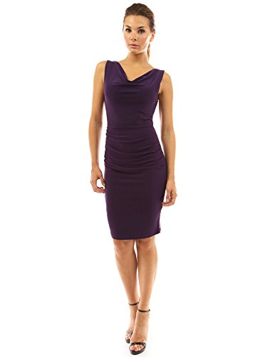 PattyBoutik robe fourreau courtes sans manches à col benitier violet foncé