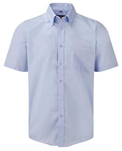 Russell Collection Mens Ultimate Non-Iron Short Sleeve Shirt Bleu ciel