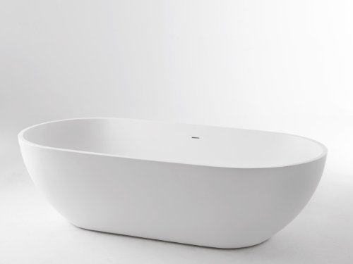 Freistehende Badewanne Pearl Mineralguß 178 x 90 mit Clic Clac Ablaufsystem weiß matt