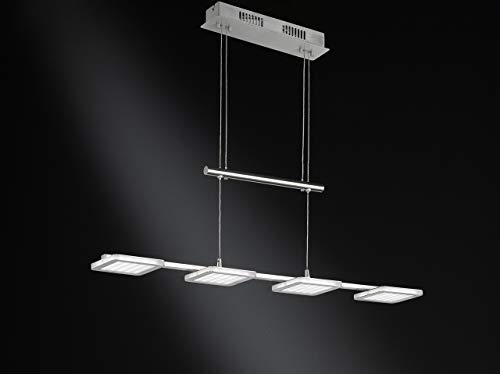 WOFI Pendelleuchte, 4-flammig, Serie Laurids, 4 x LED, 6 W, Breite 12 cm, Tiefe 80 cm, Abhängung 150 cm, Kelvin 3000, Lumen 400, nickel matt 7889.04.64.0000