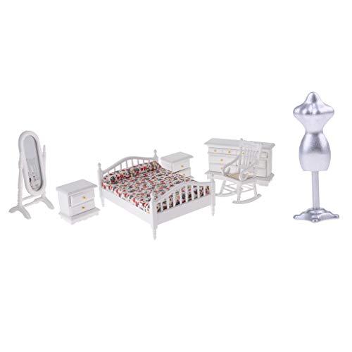 FLAMEER Miniatur Holz Bett Stuhl Schrank Modell Für 1/12 Puppenhaus Schlafzimmer Dekor - Schlafzimmer Schrank Sammlung