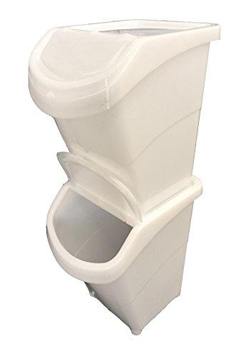 weiß recyclebaren Abfall Laundry Sorting Kunststoff Mülleimer Box + Deckel. für Stapeln. Tolles Menge Rabatt., weiß, Small 19 Litres ()