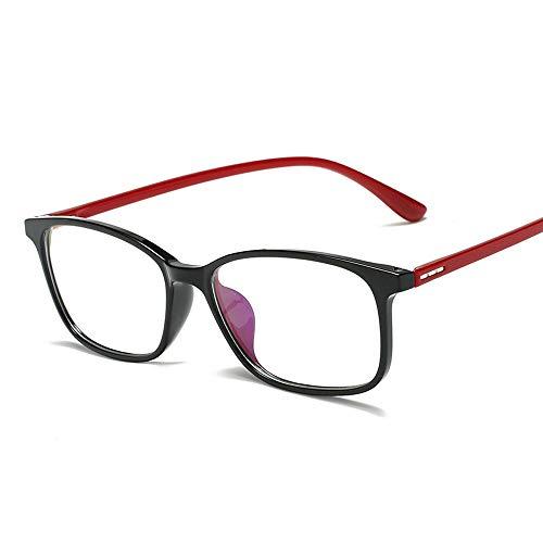 Easy Go Shopping Square Frame TR90 Ultraleichte Computerbrille Unisex Blue Light Blocking Glasses Sonnenbrillen und Flacher Spiegel (Color : Rot, Size : Kostenlos)