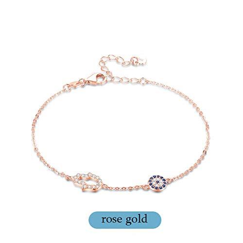 YCWDCS Armband 925 Sterling Silber Gliederkette Armbänder Für Frauen Hamsa Hand Evil Eye Charm Armband Türkische Rose Gold Schmuck