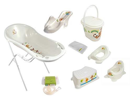 9er Set Perl Premium Disney Winnie Puuh perl weiß Badewanne XXL 100 cm + Badewannenständer + Badesitz + Topf + WC Aufsatz + Hocker + Windeleimer + Ablaufschlauch + Waschhandschuh