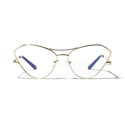 Lindan shangmao Butterfly Metal Large Frame Katze Brillengestell, klare Gläser, Unisex (Farbe : Golden)