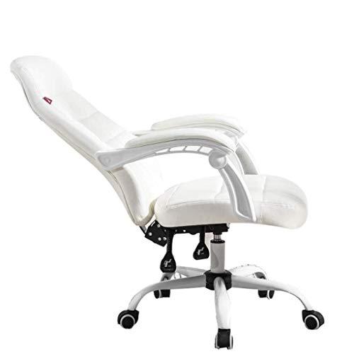 Sillas Gaming Silla de Ordenador hogar Confortable Oficina Silla reclinable heces Silla giratoria Silla Esports Ancla (Color : White)