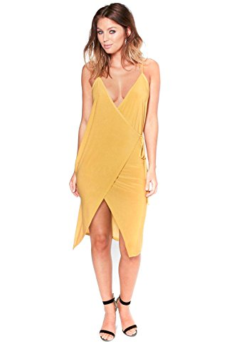 Or Femme Carrie Slinky Sharp Wrap Tie Midi Dress Or