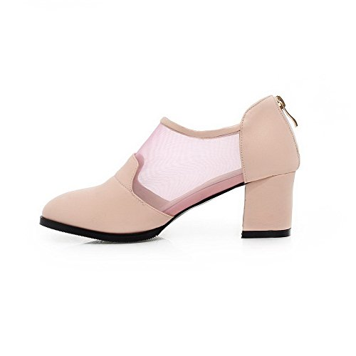 AgooLar Femme Pointu Zip Pu Cuir Couleur Unie à Talon Correct Chaussures Légeres Rose