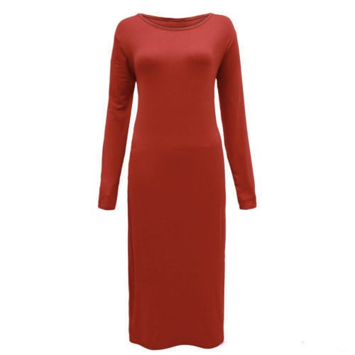 Generic - Robe - Moulante - Manches Longues - Femme rouille