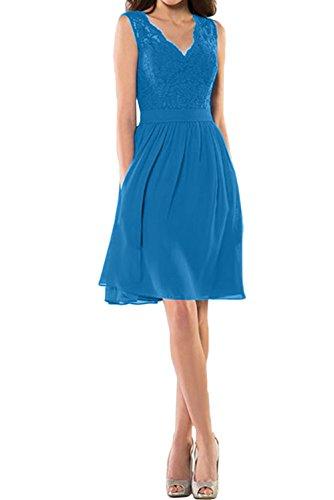 Ivydressing Blau Damen Neu Spitze Band Cocktail Abendkleider V-Neck Abiballkleider Kurz Blau