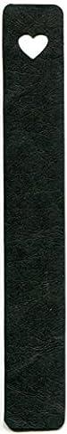 Marque-page en cuir artificiel, noir, motif cœur, 20x 3cm