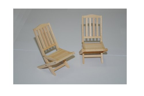 Set : Gartenmöbel 2 Stühle Holz Möbel Set Nostalgie beige hell Miniatur - Maßstab 1:12 - Puppenstube / Puppenhaus - Küchenmöbel - Wohnzimmermöbel - Gartenmöbel Gartenbank