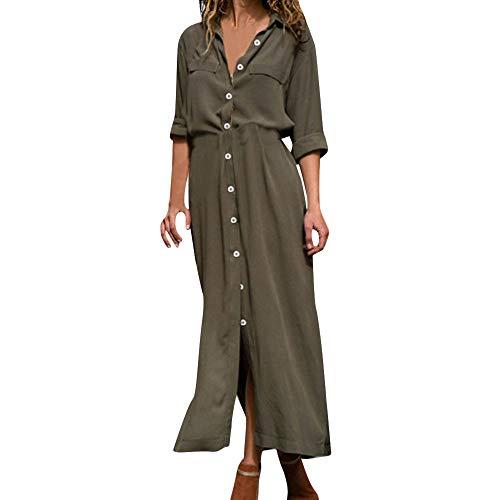 Robe Hiver Femme Chic Longue Casual RéTro Button Fendue Fond De Robe Vert L