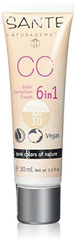 SANTE Naturkosmetik 6in1 CC Cream light, Beugt Pigmentflecken vor, Feuchtigkeitsspendend, Vegan, Bio-Extrakte, 30ml