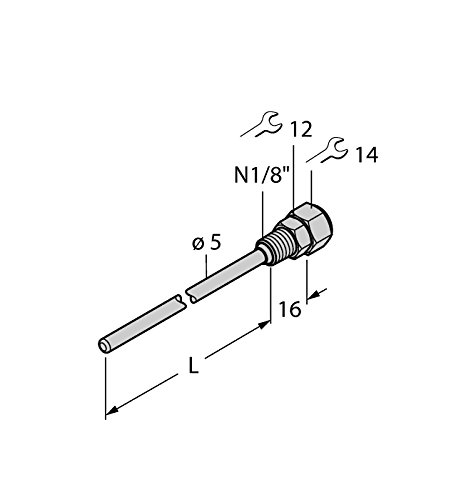 9910418-de Thw 3N1/8de détection de format A4L100, température Accessoires Tube de protection