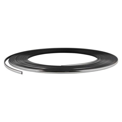 Chrom-Zierleiste, 4mm breit, 8m lang, schwarzes Klebeband
