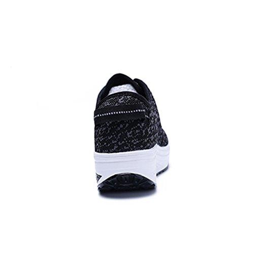 Damen Schnürhalbschuhe Dicke Sohle Aufzug Mesh Atmungsaktiv Anti-Rutsche Freizeitschuhe Bequeme Leichtgewicht Sneakers Turnschuhe Schwarz