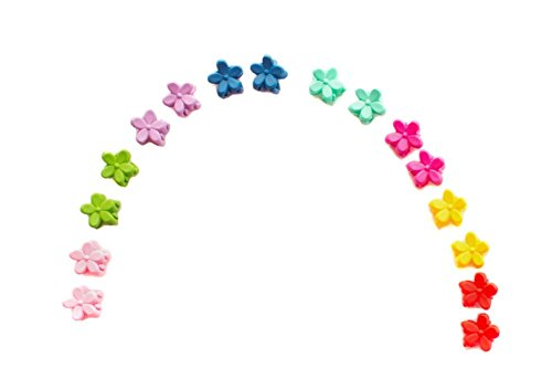 TININNA 20 pcs Boutique Bebé Niño Niñas Hair Claw Mini Clip de Pelo Pinza para el Pelo, Diseño de Flores de Colores-Color Claro