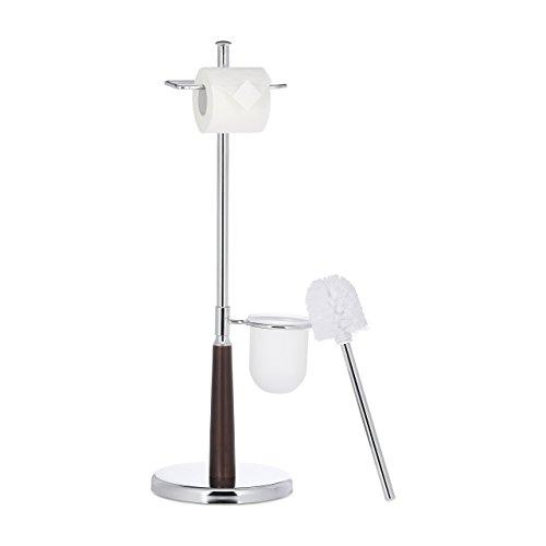 Relaxdays WC Garnitur mit Toilettenpapierhalter, Toilettenbürste u. Bürstenhalter, Chrom, HxBxT: 70 x 25 x 22 cm, Silber