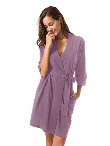 8aeca16fa58d SIORO Ladies Kimono Dressing Gown Cotton Lightweight Bath Robe Knit  Bathrobe Soft Sleepwear V-Neck