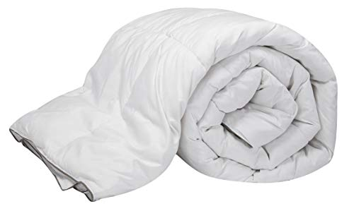 Pikolin Home-Padded Quilt/Eiderdown with 96% Goose Down Filling, 100% Cotton Percale, Four Seasons, 100+ 150g/m2, white, Lit 180-260 x 240 cm