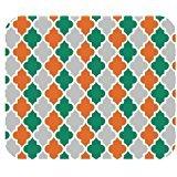 Vierpass-Orange Türkis Grau und Weiß Gitter Mini Design Gaming Maus Pad Rechteck Mauspad
