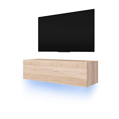 Lana - Meuble TV suspendu / Table Basse TV / Banc TV de Salon (140 cm, Aspect Bois de Chêne de Sonoma avec la LED bleue)