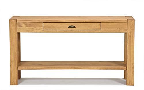 Naturholzmöbel Seidel Sideboard Massivholz mit Schublade u. Ablageboden Konsole Anrichte Schreibtisch Wandtisch, Rio Bonito, 140x38cm Pinie massiv Honig hell