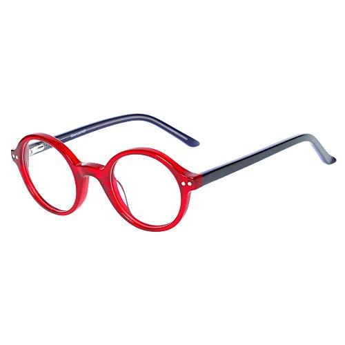 Kinder Kids Brille Teenager Gestell Fassung schick biegsam niedlich Brillenrahmen Gläser klar, ungeschliffen und rund für Jungen Mädchen (Alter 5-12 Jahre) (WK15242-2 C1 Red)