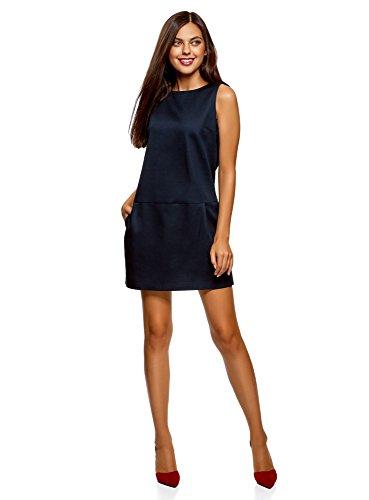 Oodji ultra donna abito senza maniche in cotone denso, blu, it 40 / eu 36 / xs