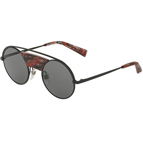 Alain mikli occhiali da sole modello 0a04002 colore 411087, montatura in metallo color nero e rosso e lente tonda, stile unisex