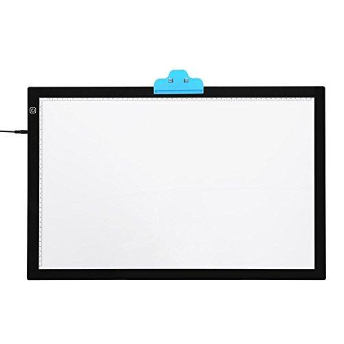 Leuchtkasten Tracing Board, A2 LED Tracing Light Pad, Ultra dünn, Einstellbar, Touchscreen-Schalter, Doppelseite ins Licht, Augenschutz, für Malen, Skizzieren, Animation, EU Stecker (Pad-schalter)