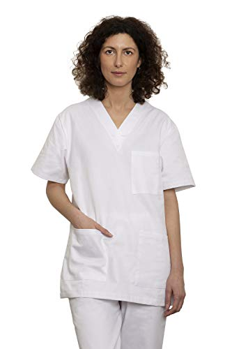 UniMediForm Medizinische Berufsbekleidung - Unisex Schlupfkasack Set mit Oberteil und Hose - für Fachpersonal im Gesundheitswesen - 100{fd712f654e1644223d8236317355a6051cf7ae22be958e673e3b1275d21b08df} Sanfor Baumwolle Oeko-Tex zertifiziert (M, weiß)