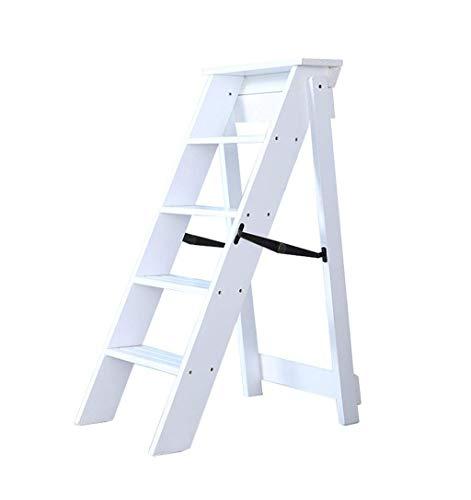 LBFKJ Klapptritte Massivholzklappleiter Hocker Multifunktions-Stehleiter/Treppe Stuhl mit 5 Schritten für Heim -C