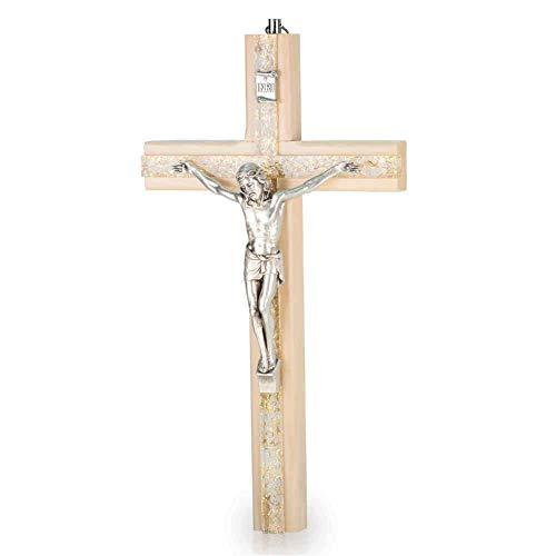 Wandkreuz Kruzifix Holzkreuz modern Holz hell Kreuz Plexiglas mit goldfarbenem Engelshaar Metallkorpus 25 cm