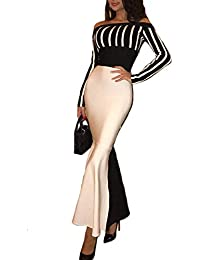 FuweiEncore Abiti da Sirena da Donna Abiti Estivi Eleganti da Spalla  (Colore   Nero a367ddb44db