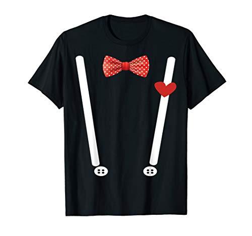 Kostüm Mit Hosenträger Frauen - Valentinstag Kostüm T-Shirt Herzen Fliege &