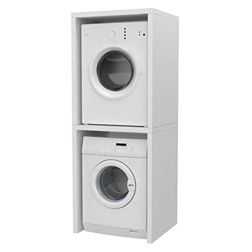 Ve.Ca. Mobile colonna Coprilavatrice, in legno, copri  lavatrice/asciugatrice, diversi colori, anche su misura, lavanderia arredo  bagno (Bianco ...