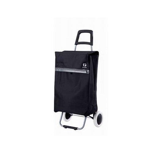 Einkaufstrolley XXL mit Standfuß (Einkaufswagen, Trolley, Einkaufsroller, Einkaufs-Tasche mit Rollen, Microfaser, schwarz)
