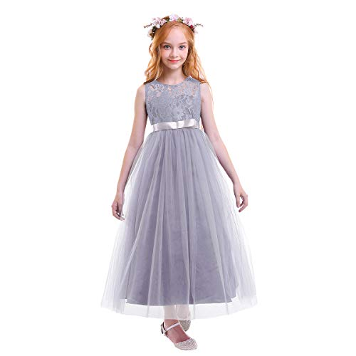 OBEEII Vestito Elegante da Ragazza Festa Cerimonia Matrimonio Damigella  Donna Sposa Prima Comunione Battesimo Ballerina Carnevale d3b45472686