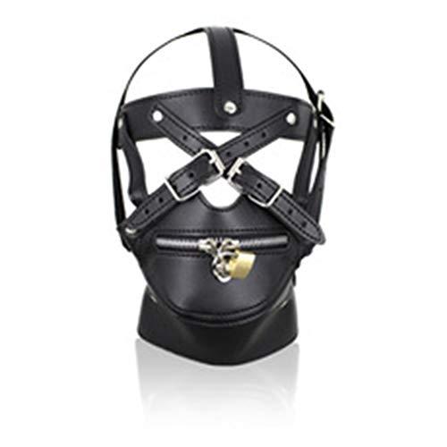 Pferd Maske mit Reißverschluss Leder Maske Cosplay Binding Mask Unisex Gimp Maske, Kann für Halloween Maskerade Maske Universal Größe,Black
