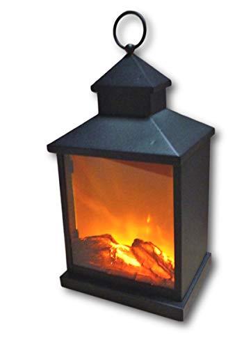 UrbanDesign Metall LED Laterne mit künstlichem Feuer Flamme Rauch Holzscheit Deko Kaminfeuer Lampe batteriebetrieben 3 LEDs mit Timer (36 cm)