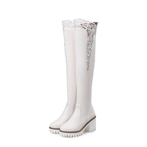 AgooLar Damen Hoher Absatz Rein Rund Zehe Weiches Material Reißverschluss Stiefel Weiß