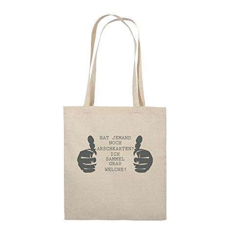 Comedy Bags - HAT JEMAND NOCH ARSCHKARTEN - Jutebeutel - lange Henkel - 38x42cm - Farbe: Schwarz / Silber Natural / Grau