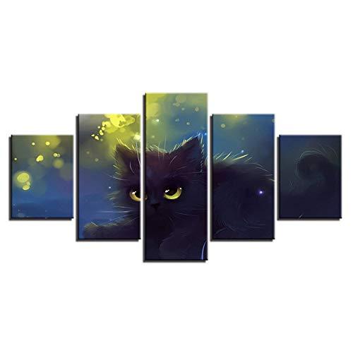 (zhenfa Haustier Katze Tiere fünf-Link Collage Frameless 5 Kombination hängenden Gemälde (Can, doppelseitigen Klebstoff, wie z. B. Feste oder pic Ture Frame straffe Federung))