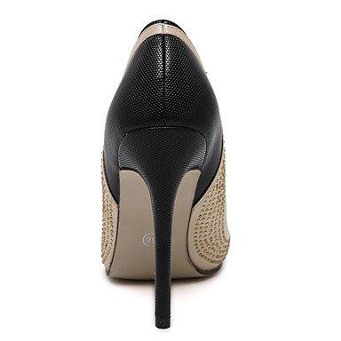 Moda donna sexy sandali scarpe donna Easy Street Slip-on Glitter spumanti Split tacchi comune/Pompe Punta tacchi a spillo Party/vestono scarpe Black
